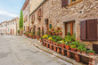The old Italian town in the colors of spring in Tuscany
