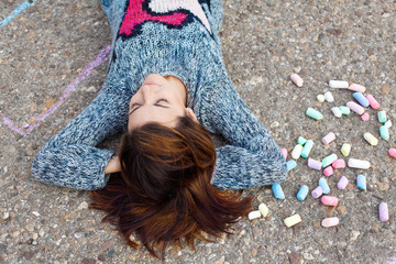 Girl and chalk