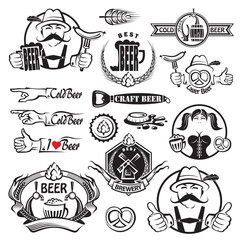 monochrome set of beer icons
