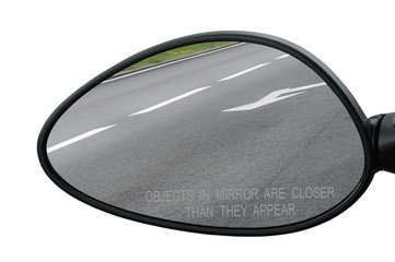 Rear view mirror isolated warning objects in mirror are closer