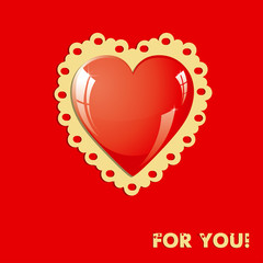 Valentine card with heart on red background, vector illustration