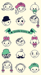 Smile icons. Vector illustration