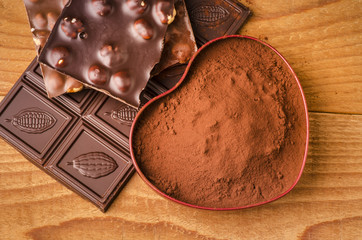 cacao in polvere con cioccolato
