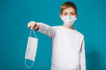 Boy wearing protection mask suggesting mask