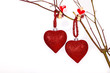 Valentine hearts hanging on a twig