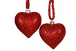 Two red decorative hearts.
