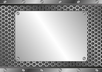 metallic background with iron plaque