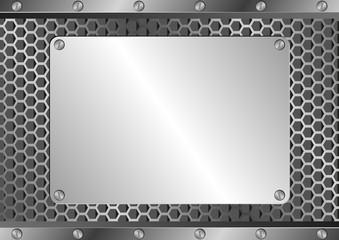 metallic background with iron plaque