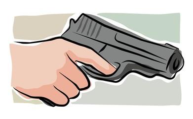 sketchy hand holding revolver