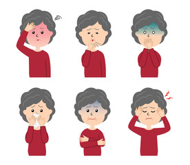 A set of six pose variations of sick elderly woman