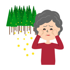 An elderly woman with itchy eyes, allergy caused by cedar pollen