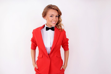 Girl in red suit