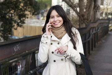 college girl with phone