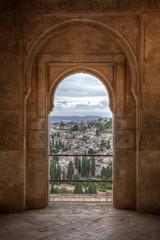 City of Granada from Patio de la Acequia in the Alhambra. Andalu