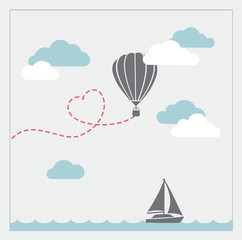 Retro vector card with aerostat flying in the clouds and