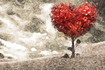 Children under a tree of hearts