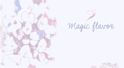 Vector background with the image of flowers in pastels. Magical