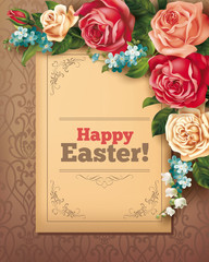 Easter vintage card with roses. Vector