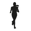 Running young girl vector silhouette - 77967296