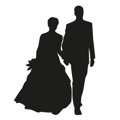 Wedding couple vector silhouette