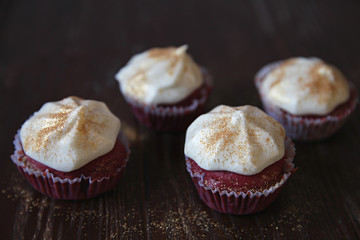 Group of red cupcakes