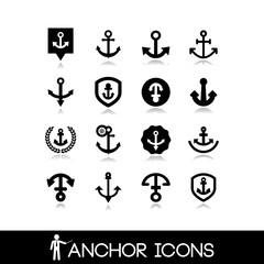 Nautical icons - Anchor icons set 2
