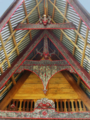 Traditional decoration of Batak house on Samosir island, Sumatra