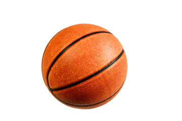 Old basketball ball on a white background
