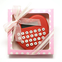 heart shape calculator in pink gift box