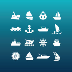 Vector boat and ship icons - set 1