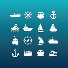 Vector boat and ship icons - set 2