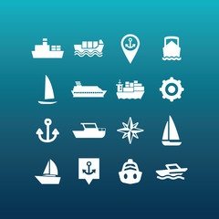 Vector boat and ship icons - set 3