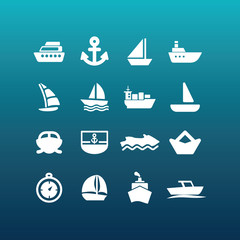 Vector boat and ship icons - set 4