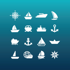 Vector boat and ship icons - set 5