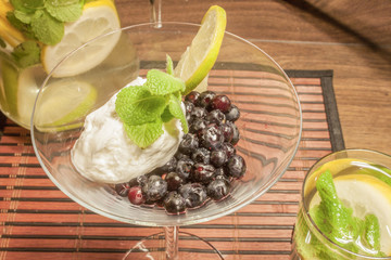 Blueberry and quark with mint