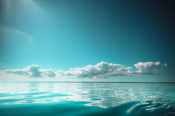 Beautiful seascape sea horizon and sky.