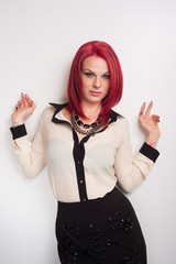 Model with Vivid Red Hair