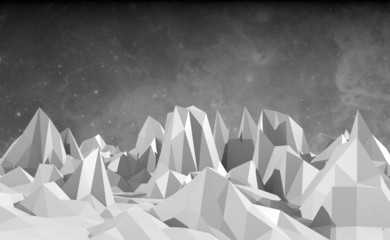 low poly mountains landscape