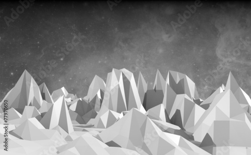 low poly mountains landscape - 77970650