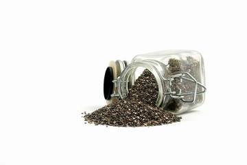 Glas Behälter mit Chia Samen