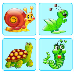 set of icons with a grasshopper, caterpillar, turtle, snail