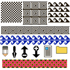 set of patterns and icons pixel art