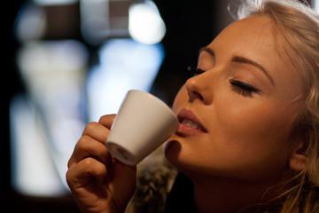 pleasure of drinking a coffee