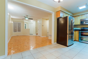 Empty living room and  kitchen interior design