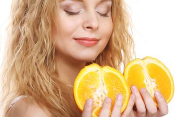 happy woman with orange