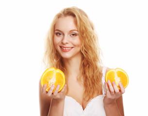 happy woman with orange