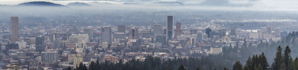 Foggy Portland Downtown Cityscape Panorama