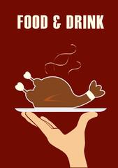 Food design over red background, vector illustration.