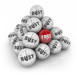 Free Vs Busy Time Sphere Ball Pyramid Spare Holiday Day Hours Of