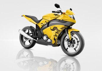 Motorcycle Motorbike Bike Riding Contemporary Yellow Concept